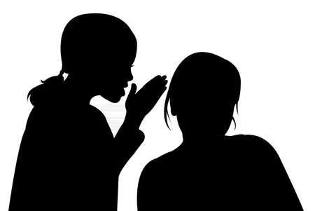 sidewalk talk: silhouettes of two children, talking to each other