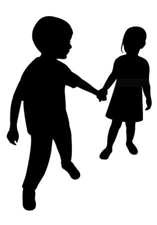 two children silhouette vector