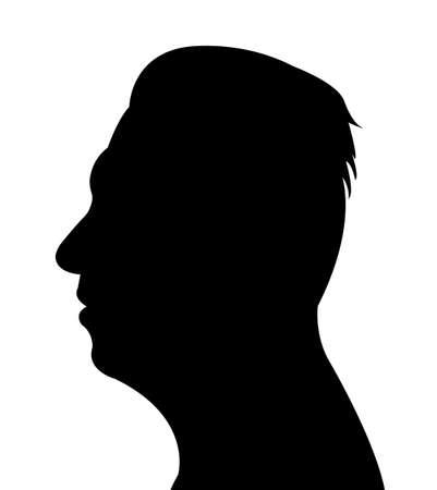 contemplate: Man head silhouette vector Illustration