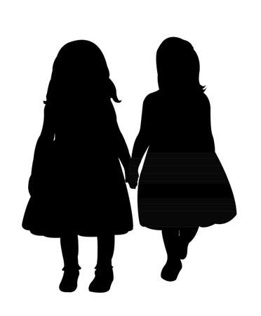 sibling: two children hand in hand, silhouette vector