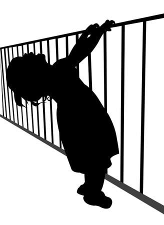 behind bars: child behind bars, silhouette vector