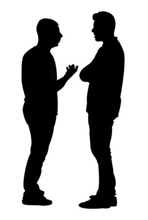 hands behind back: Black silhouettes of two men standing and talking to each other