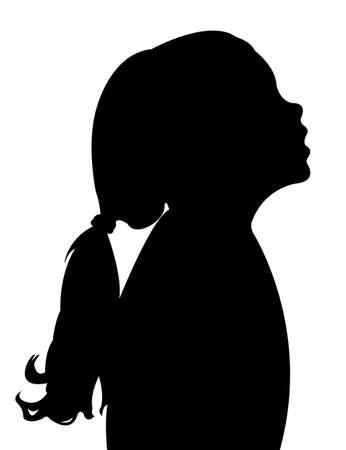 una silhouette vector testa del bambino