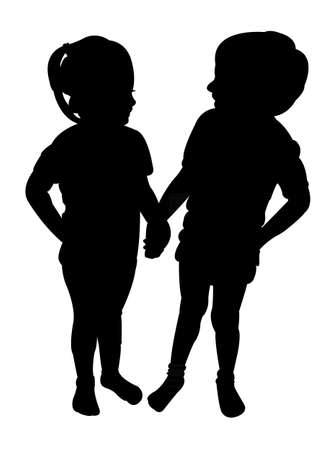 two: two children silhouette vector
