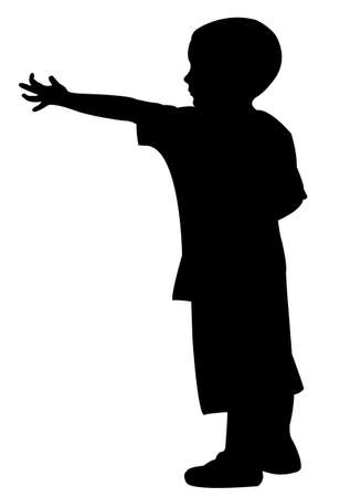 beg: beggar child silhouette Illustration