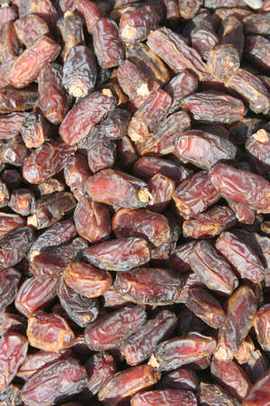 air dried: Background of dried fruit dates, at the open air markets Stock Photo