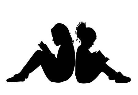 child reading the book, silhouette vector Vettoriali