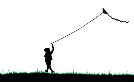 child silhouette flying a kite Ilustrace