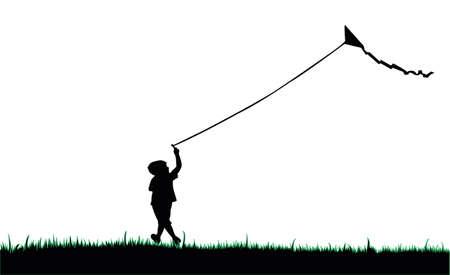 child silhouette flying a kite Ilustracja
