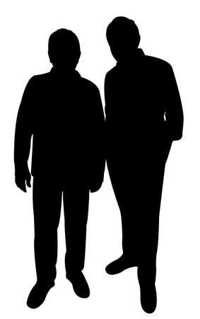villager: two poor men silhouette vector