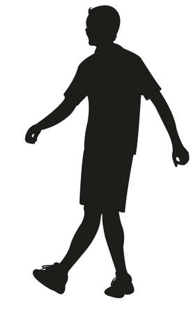 hector: walking young man body silhouette vector Illustration