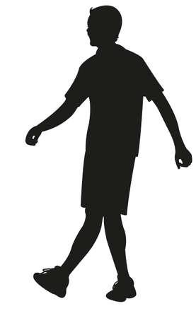 hoodlum: walking young man body silhouette vector Illustration