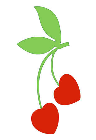 macro nature: red cherry berries isolated illustration Illustration