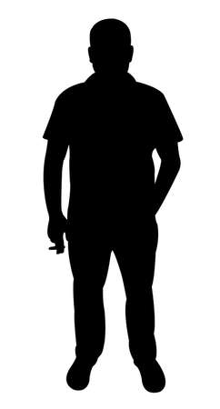 manly: Man smoking, silhouette vector