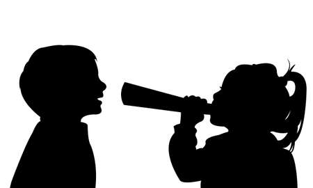 height: a girl with megaphone speaking, listening height