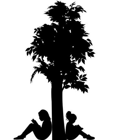 plant stand: child reading the book, silhouette vector Illustration