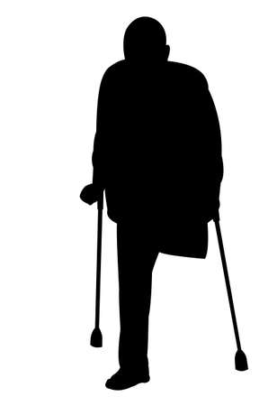 artificial leg: silhouette of a handicapped man