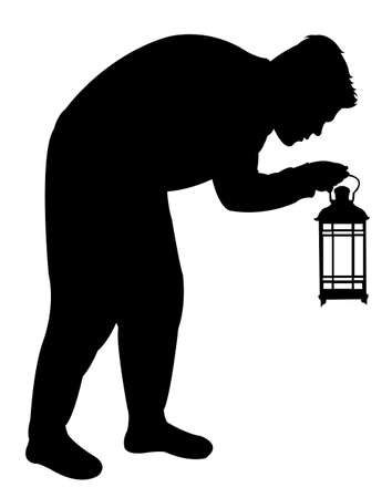 wastage: Man searching with lantern