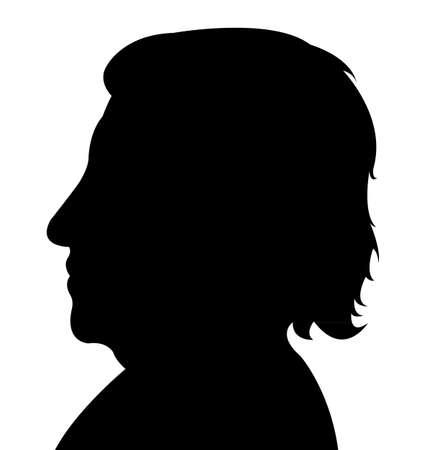 cabeza de mujer: Señora cabeza silueta vector