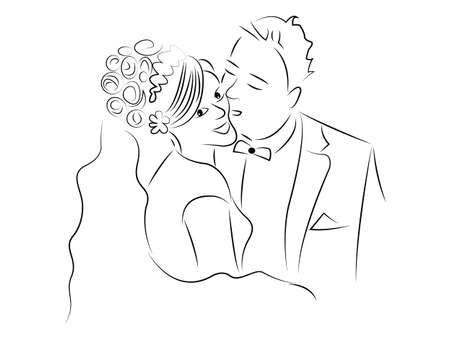 romantic couple: just married couple cartoon vector Illustration