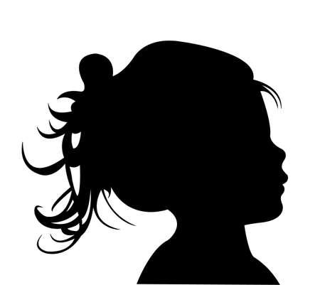 head profile: a girl head silhouette vector Illustration