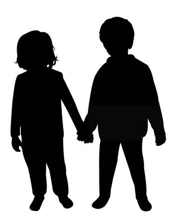 sibling: two children silhouette vector