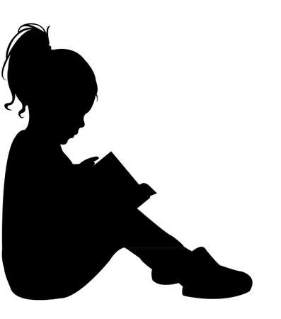 book silhouette: child reading the book, silhouette vector Illustration