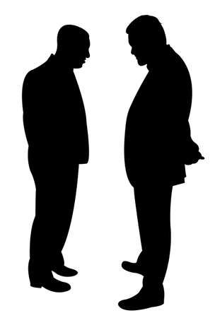 hector: Black silhouettes of two men standing and talking to each other