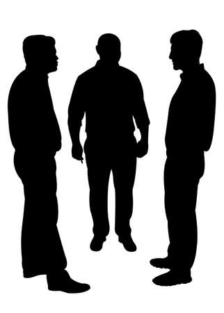 men silhouette standing vector Illustration