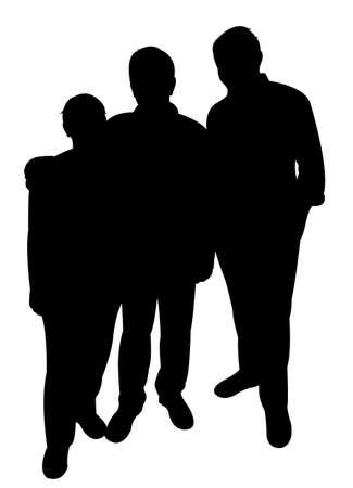 hoodlum: men silhouette standing vector Illustration