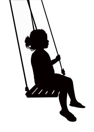 child swinging, silhouette vector