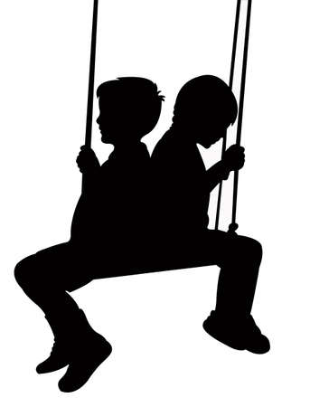 swinging: a girl and a boy swinging, silhouette vector