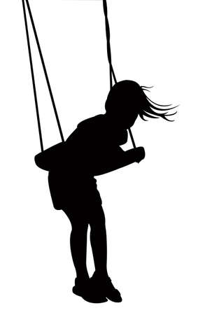swinging: child swinging, silhouette vector