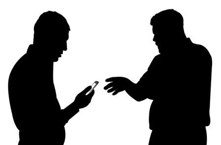 two men talking: black silhouettes of two men talking to each other