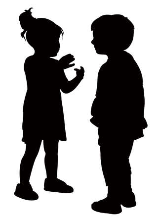 two children: two friends talking, vector