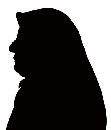 head scarf: lady with scarf, head silhouette vector Illustration