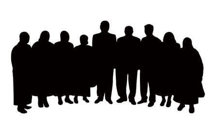 family discussion: silhouettes of people, standing in line