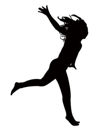 dancing child, silhouette vector Illustration