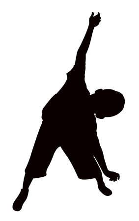 suburban: a boy body silhouette Illustration