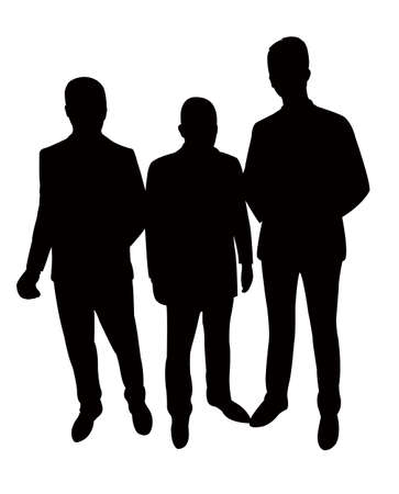hector: three standing man silhouette vector