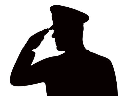 soldier saluting, silhouette vector