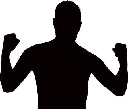 hoodlum: a man, body builder silhouette vector