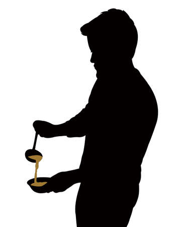 man serving the soup, silhouette vector
