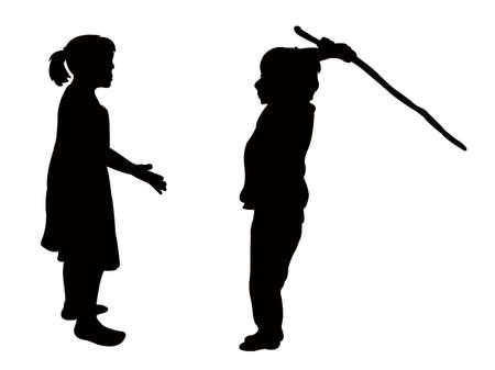 boy kicking the girl, silhouette vector
