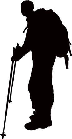 a mountaineer man, silhouette vector Çizim