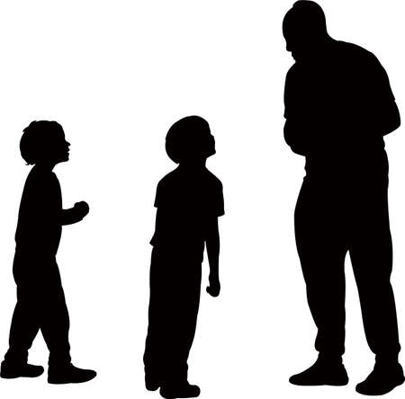 father talk to his sons, silhouette vector Illustration