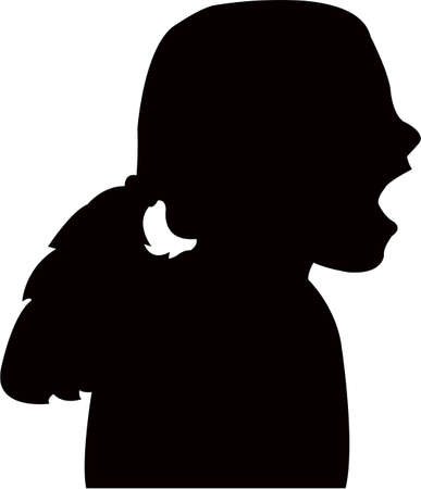 a kid head silhouette vector
