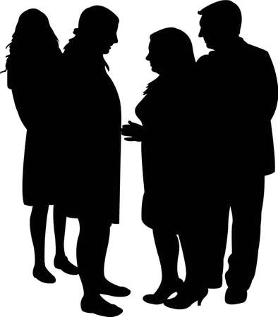 People talking silhouette illustration. Illustration