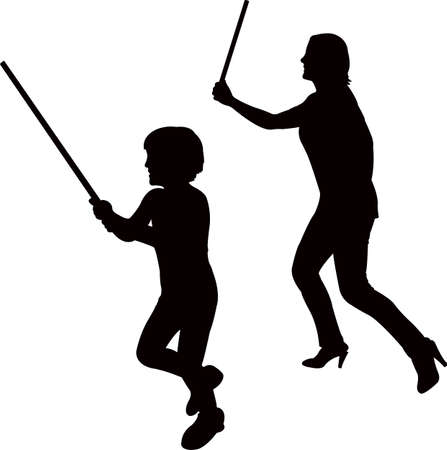Woman and a boy with baton illustration.