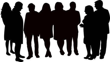 people in communication, silhouette vector